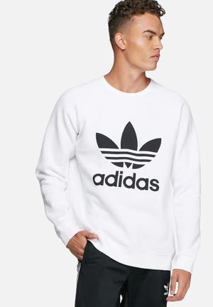 Adidas Originals Trefoil Fleece Crew Hoodies & Sweatshirts White