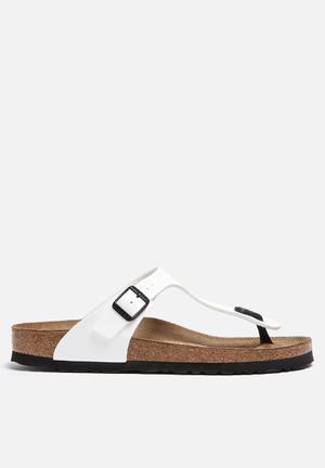 Birkenstock Gizeh Patent Sandals & Flip Flops White