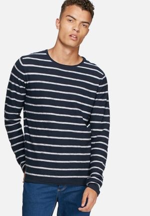 Jack & Jones Vintage Derrick Knit Knitwear Navy & White