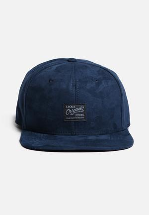 Jack & Jones Footwear & Accessories Bossed Camo Snapback Cap Headwear Navy