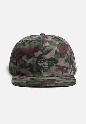 Jack & Jones Footwear & Accessories Bossed Camo Snapback Cap Headwear Green, Brown & Black