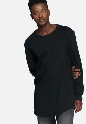 Basicthread Loopback Curved Hem Sweat Hoodies & Sweatshirts Black