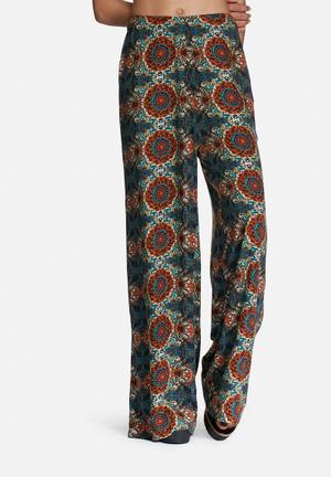 Vero Moda Malu Wide Pants Trousers Brown, Beige & Green
