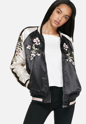 Vero Moda Beauty Bomber Jackets Black, White, Pink & Green