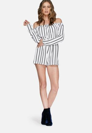 Missguided Striped Off Shoulder Bardot Playsuit White