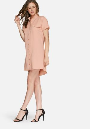 Missguided Short Sleeve Shirt Dress Casual Nude