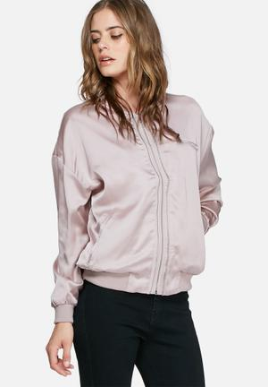 Missguided Satin Bomber Jacket Lilac