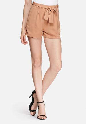 Missguided Tie Waist Tailored Shorts Camel