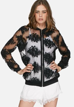 Missguided Embroidered Bomber Jacket Black