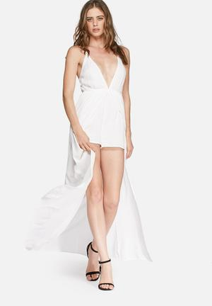 Missguided Cheesecloth Overlay Playsuit White