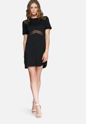 Missguided Mesh Insert Dress Casual Black