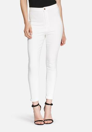 Missguided Vice High Waisted Skinny Jeans  White