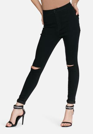 Missguided Vice Ripped Skinny Jeans Black