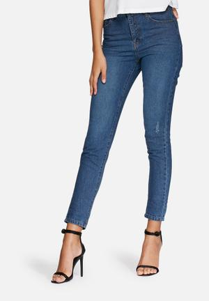 Missguided Retro High Rise Jeans Blue
