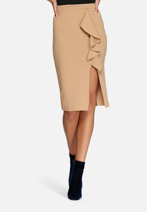 Missguided Ruffle Detail Scuba Midi Skirt  Camel