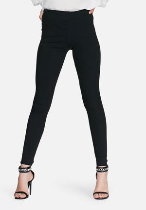 Missguided Basic Rib Leggings Trousers Black