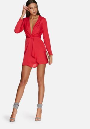 Silky plunge wrap shift dress