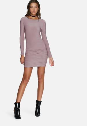 Missguided Slinky Ruched Bodycon Dress Occasion Purple