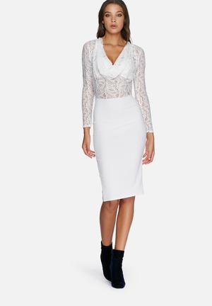 Missguided Contrast Lace Cowl Dress Occasion White