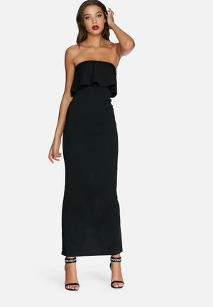 Missguided Bandeau Frill Maxi Dress Occasion Black