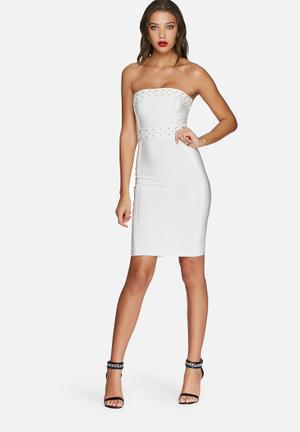 Missguided Eyelet Bandeau Midi Dress Occasion White