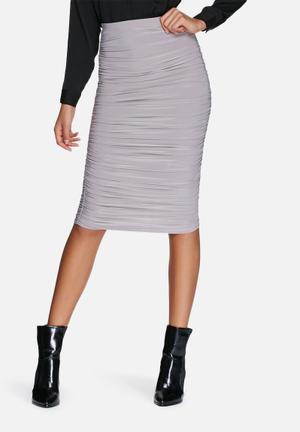 Missguided Slinky Gathered Midi Skirt Grey