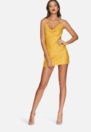 Missguided Silky Cami Dress Occasion Mustard