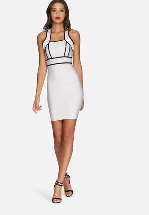 Missguided Bandage Cross Midi Dress Occasion White & Black
