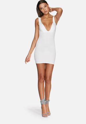 Missguided Plunge Bodycon Dress Occasion White