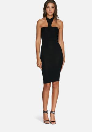 Missguided Jersey Halter Neck Dress Occasion Black