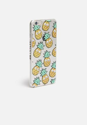 Skinnydip Googly Pineapple IPhone 6 Plus Cover Clear With Yellow Pineapples