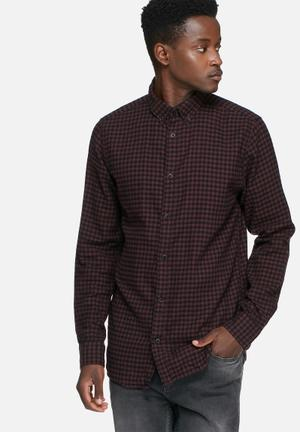 Selected Homme Gingham Slim Shirt Brown & Black