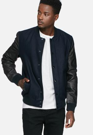 Selected Homme Glasgow Bomber Jacket Navy & Black