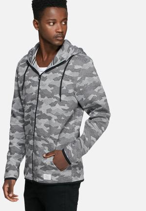 Jack & Jones CORE Camo Hood Hoodies & Sweatshirts Grey