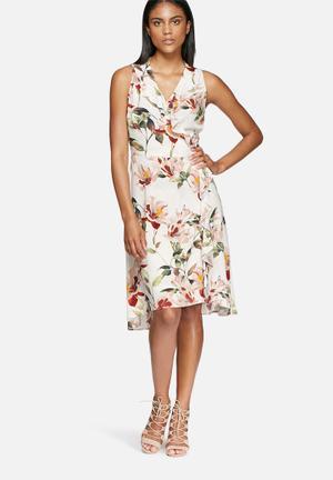 Frill midi wrap dress