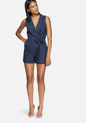 Dailyfriday Wrap Playsuit With Tie Navy