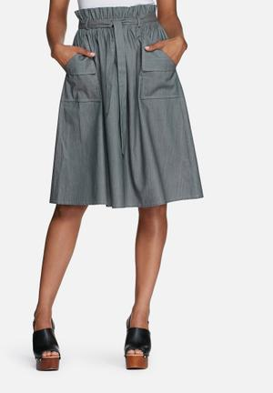 Dailyfriday Paperbag Waisted Skirt With Pockets Grey