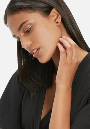 Black Betty The Spinel Studs Jewellery Black & Gold