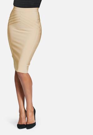 Missguided High Waisted Bandage Midi Skirt  Gold