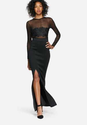 Missguided Mesh Top Maxi Dress Occasion Black