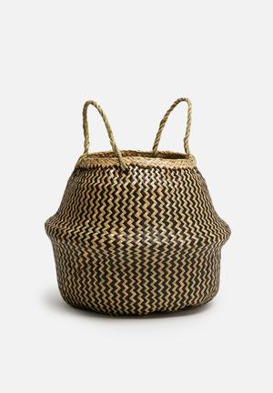 Sixth Floor Zigzag Belly Basket Accessories Seagrass