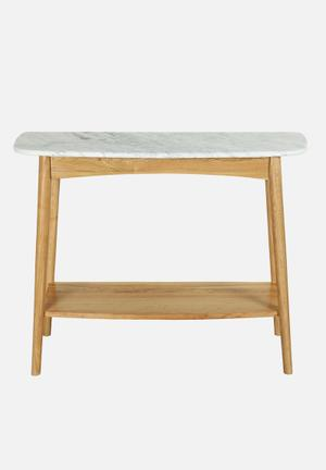 Sixth Floor Oia Marble Console Table Sideboards & Cabinets Solid Oak Base, Carrara Marble Top