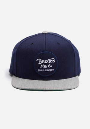 Brixton Wheeler Snapback Headwear Navy / Grey