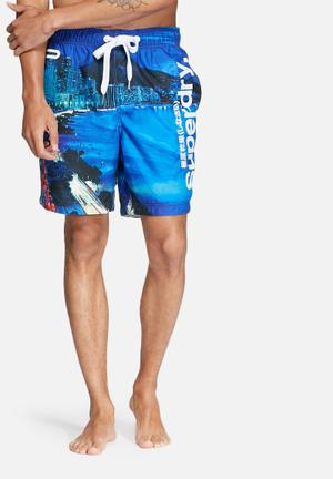Superdry. Neo Swim Shorts Swimwear Blue, White & Black