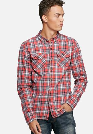 Superdry. Grindlesawn Shirt Red / Navy