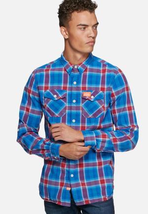Superdry. Slimline Washbasket Shirt Blue & Red