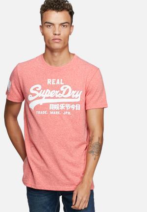 Superdry. Vintage Tee T-Shirts & Vests Coral Melange