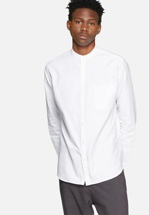 Selected Homme Collect China Collar Formal Shirts White