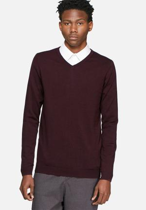 Jack & Jones Premium Lucas Knit Knitwear Burgundy