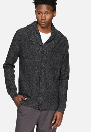 Selected Homme Bowan Shawl Cardigan Knitwear Black & Grey